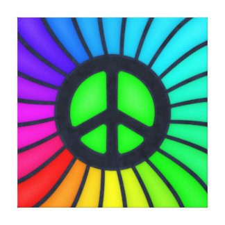 Rainbow Peace Sign Stretched Canvas Prints