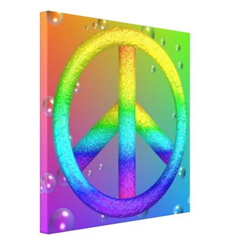 Rainbow Peace Sign Canvas Print - Peace sign wall decor