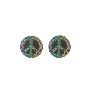 Rainbow Peace Sign Celtic Knot Earrings