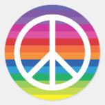 Rainbow Peace Sign Classic Round Sticker