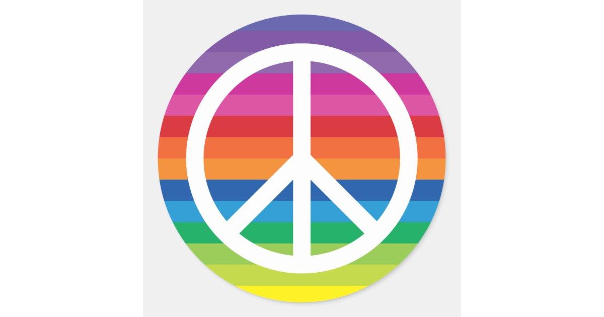 Rainbow Peace Sign Classic Round Sticker | Zazzle.com