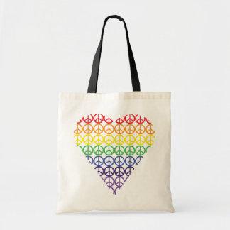 Rainbow Peace Sign Heart Bags