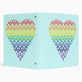 Rainbow Peace Sign Heart Vinyl Binder