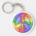 Rainbow Peace Sign Key Chain