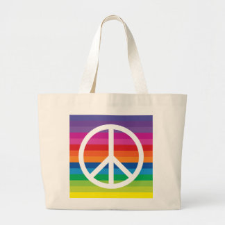 Rainbow Peace Sign Large Tote Bag