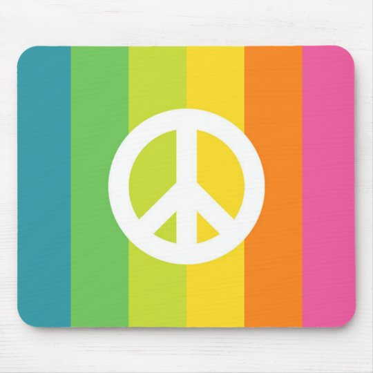 Rainbow Peace Sign Mouse Pad