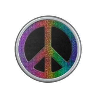 Rainbow Peace Sign on Black Bluetooth Speaker