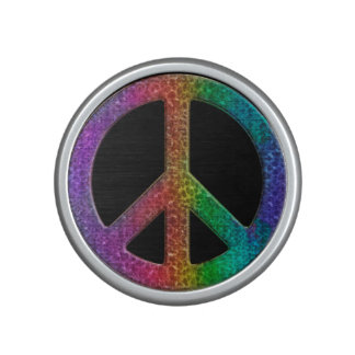 Rainbow Peace Sign on Black Bluetooth Speaker