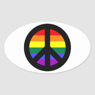 Rainbow Peace Sign Oval Sticker