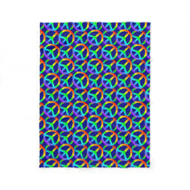 Rainbow Peace Sign Pattern Fleece Blanket