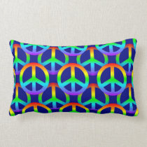 Rainbow Peace Sign Pattern Lumbar Pillow
