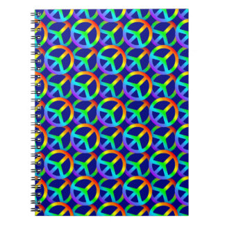 Rainbow Peace Sign Pattern Spiral Notebook