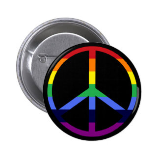 Rainbow Peace Sign Pinback Button