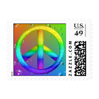 Rainbow Peace Sign Postage