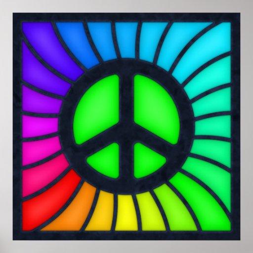 rainbow peace sign poster zazzle