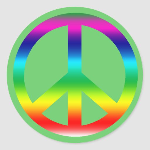 Rainbow Peace Sign Products Classic Round Sticker