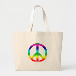 Rainbow Peace Sign Products Large Tote Bag