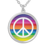 Rainbow Peace Sign Round Pendant Necklace