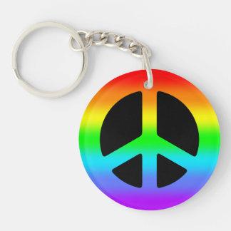 Rainbow Peace Sign Single-Sided Round Acrylic Keychain