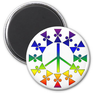 Rainbow Peace Sign Spiral 2 Inch Round Magnet