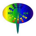 Rainbow Peace Sign Spiral Cake Pick