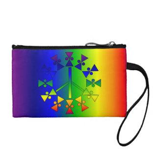 Rainbow Peace Sign Spiral Change Purse