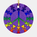 Rainbow Peace Sign Spiral Christmas Tree Ornament