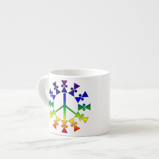 Rainbow Peace Sign Spiral Espresso Cup