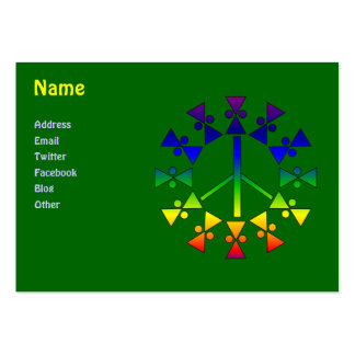 Rainbow Peace Sign Spiral Large Business Card