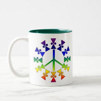 Rainbow Peace Sign Spiral Two-Tone Coffee Mug