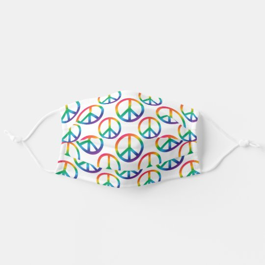 Rainbow Peace Sign Symbol Pattern Adult Cloth Face Mask