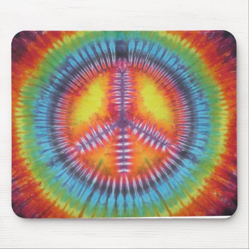 Rainbow Peace Sign Tie Dye Mouse Pad
