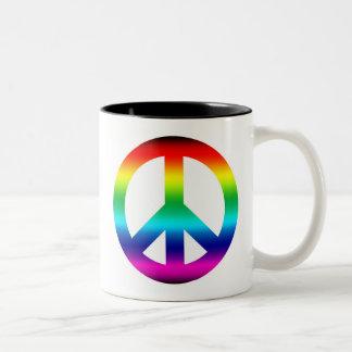 Rainbow Peace Sign Two-Tone Coffee Mug