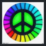 "Rainbow Peace Sign Wall Decal<br><div class=""desc"">Rainbow peace sign wall peel.</div>"