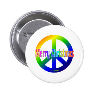 Rainbow Peace Sign with Merry Christmas! Pinback Button