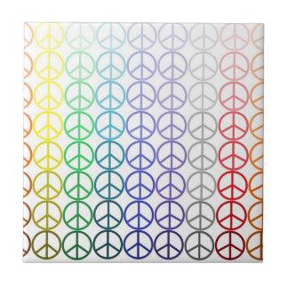 Rainbow Peace Signs Tile