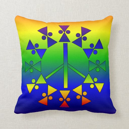 Rainbow Peace Spiral Pillow