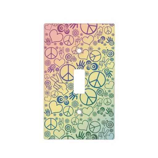 Rainbow Peace Symbol Design Pattern Light Switch Cover