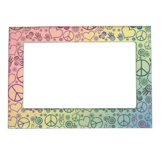 Rainbow Peace Symbol Design Pattern Magnetic Picture Frame