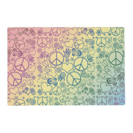 Rainbow Peace Symbol Design Pattern Placemat