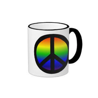 Rainbow Peace Symbol Ringer Coffee Mug