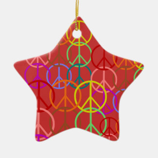 Rainbow Peace Symbols Star Ornament