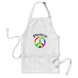 Rainbow Peace Word & Ribbon Adult Apron