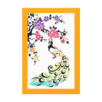 Rainbow peacock & cherry blossoms orange border gallery wrapped canvas