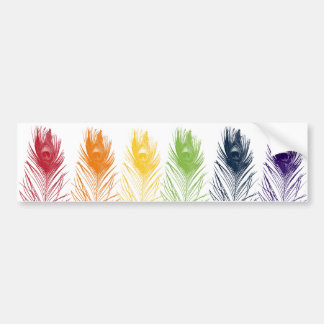 Rainbow Peacock Feather Bumper Sticker