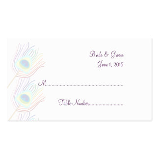 Rainbow Peacock Feathers Wedding Place Cards Business Card Template