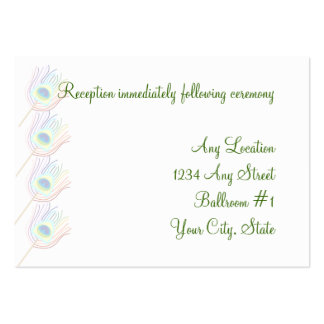Rainbow Peacock Feathers Wedding Reception Cards Business Card
