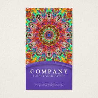 Rainbow Peacock mandala - purple Business Card