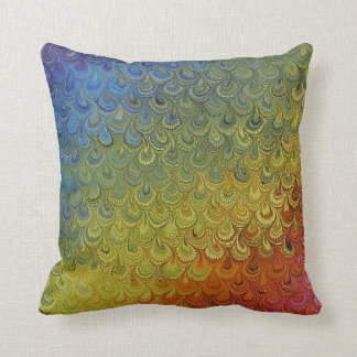 Rainbow Peacock Marble Pillow