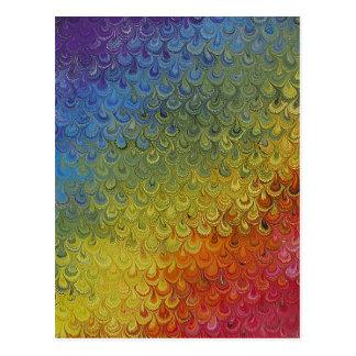 Rainbow Peacock Marble Postcard